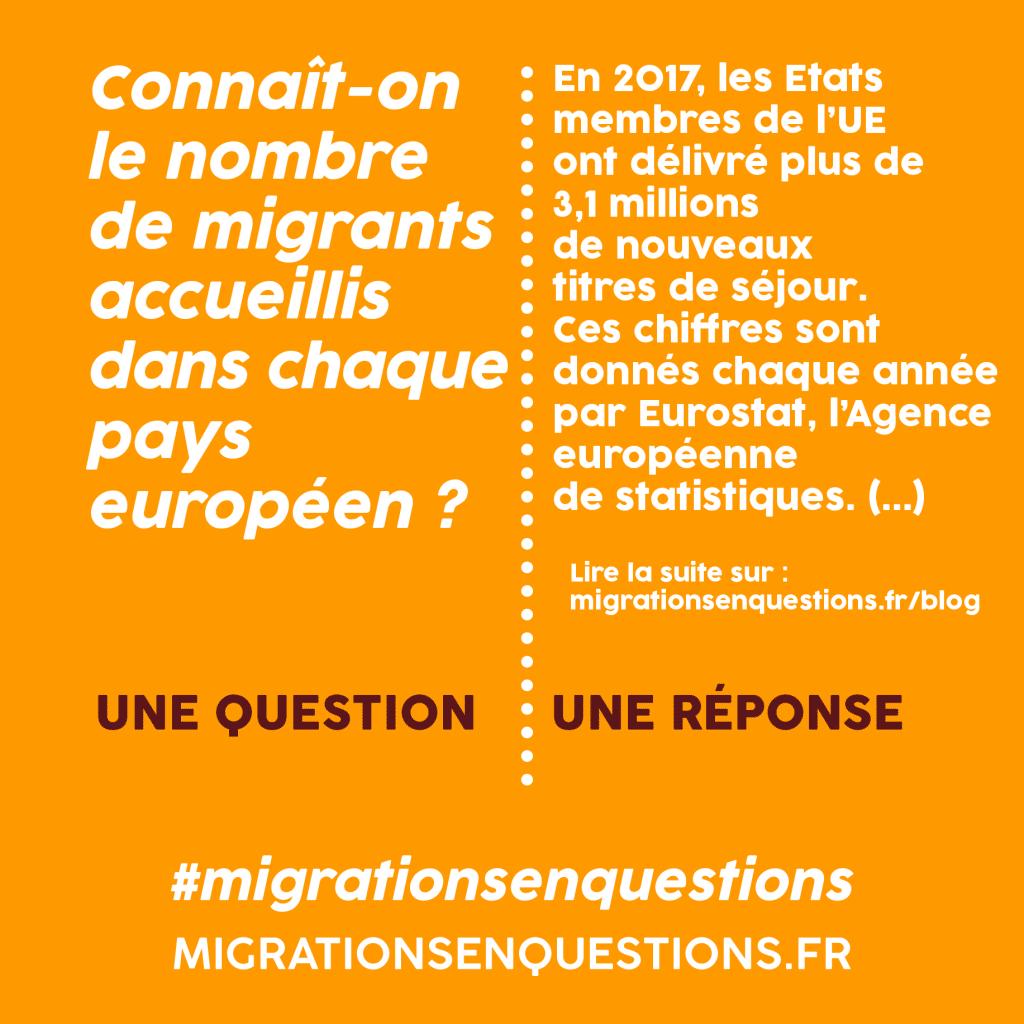 Connaît-on le nombre de migrants accueillis dans chaque pays européen en 2017 ?